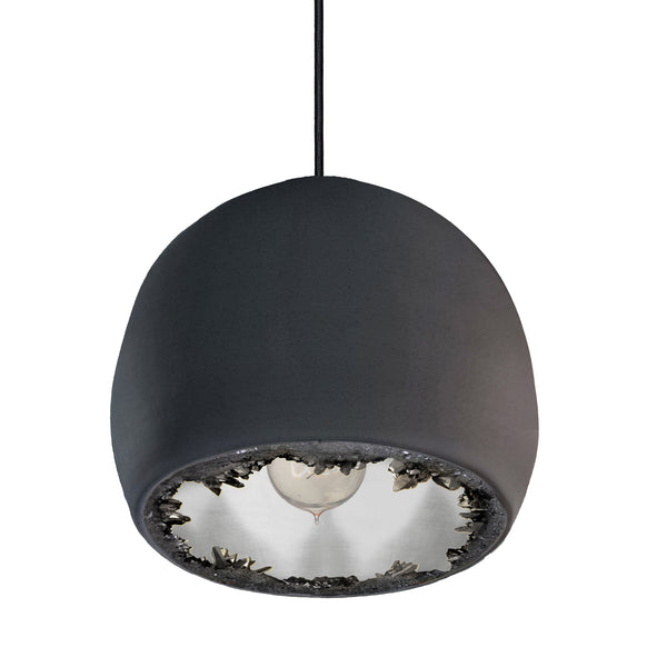 "12"" Matte Black & Silver Geode Crystal Pendant Light- Black Cord"