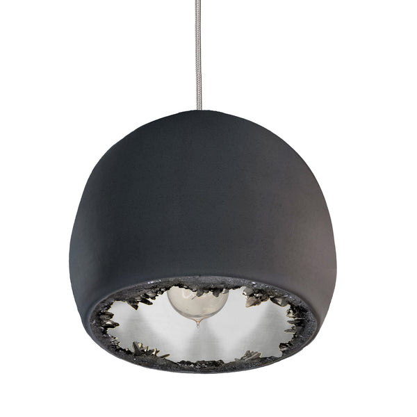 "12"" Matte Black & Silver Geode Crystal Pendant Light- Nickel Cord"