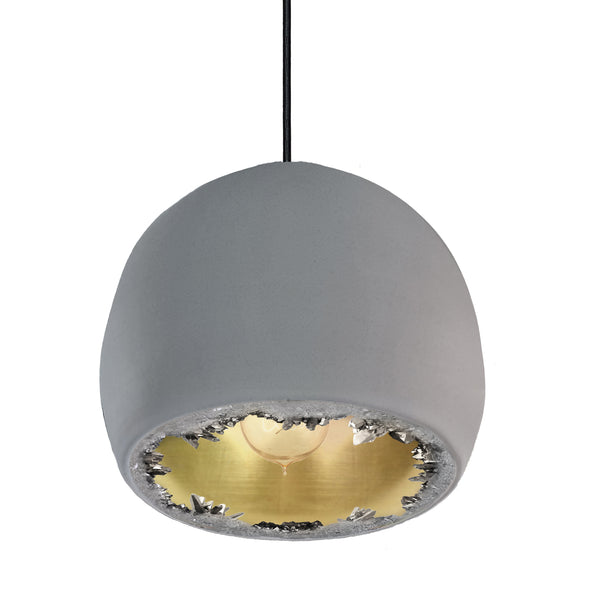 "12"" Matte Grey & Brass Geode Crystal Pendant Light- Black Cord"