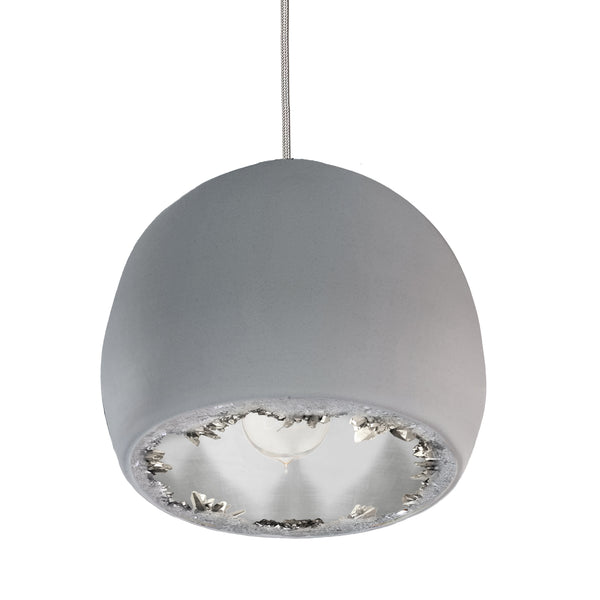 "12"" Matte Grey & Silver Geode Crystal Pendant Light- Nickel Cord"