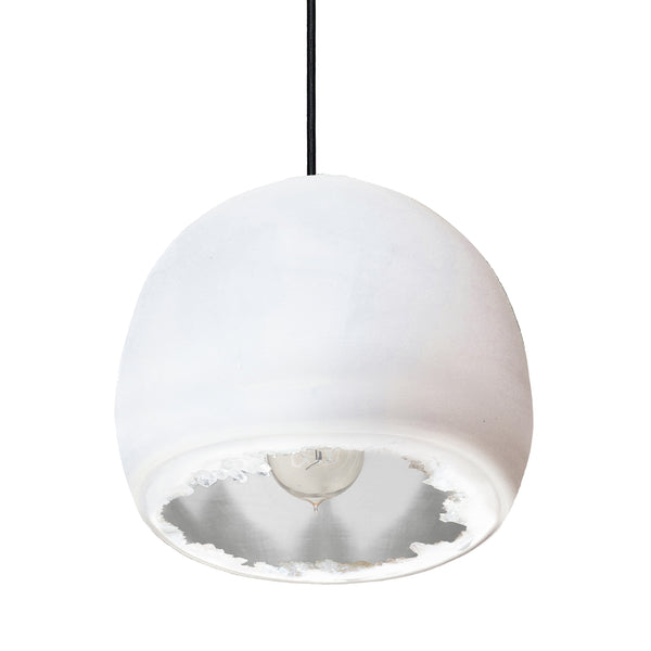 "12"" Matte White & Silver Geode Crystal Pendant Light- Black Cord"