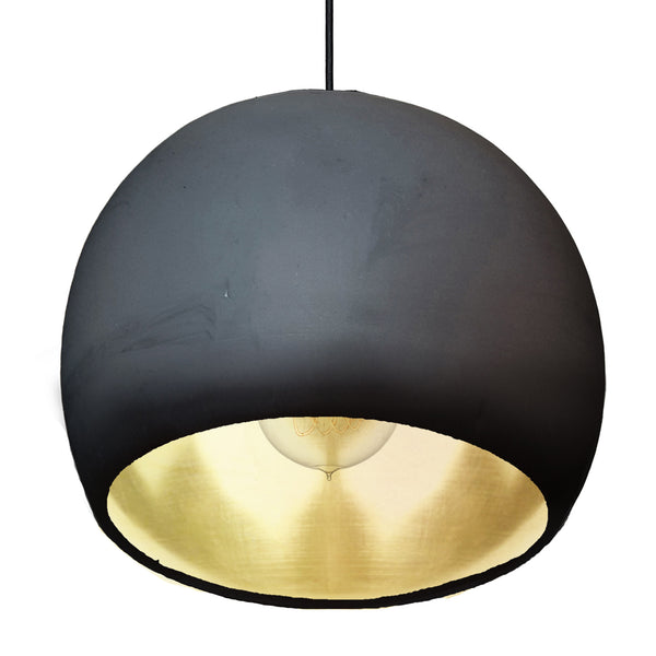 "Large 12"" Globe Matte Black & Brass Leaf Clay Pendant Light - Made in USA"