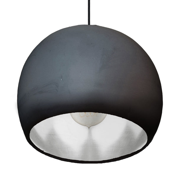 "Large 12"" Globe Matte Black & Silver Leaf Clay Pendant Light - Made in USA"