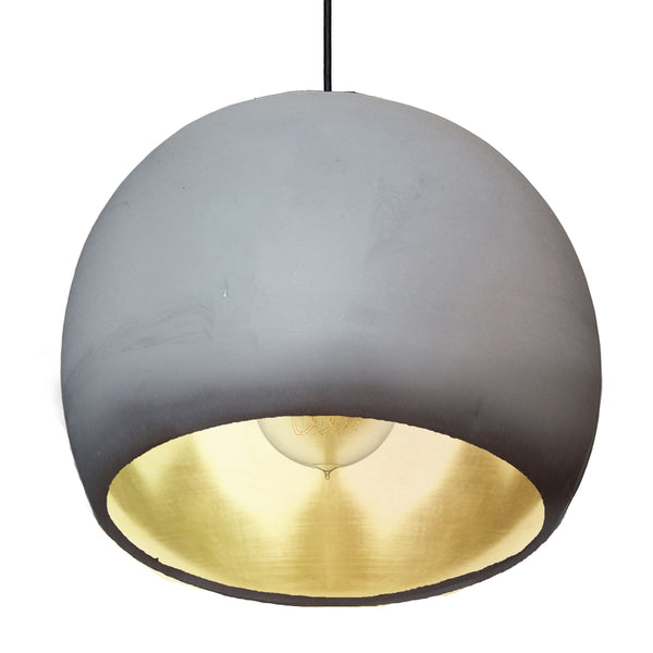 "Large 12"" Globe Matte Grey & Brass Leaf Clay Pendant Light - Made in USA"