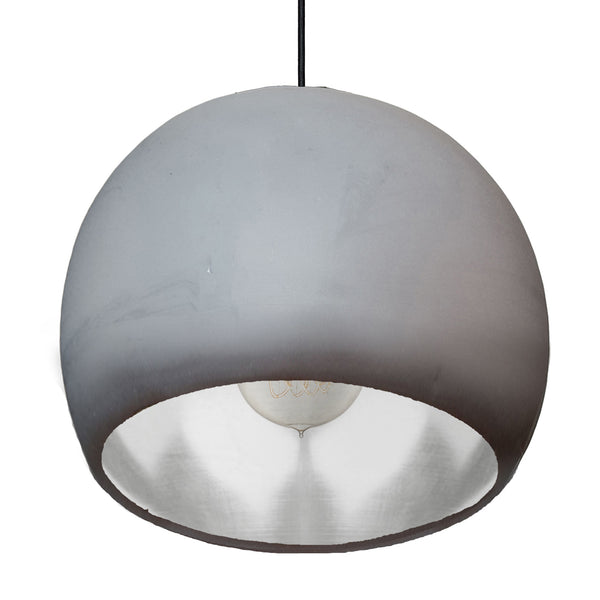 "Large 12"" Globe Matte Grey & Silver Leaf Clay Pendant Light - Made in USA"