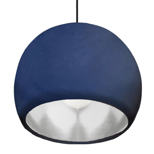 "Large 12"" Globe Matte Indigo & Silver Leaf Clay Pendant Light - Made in USA"