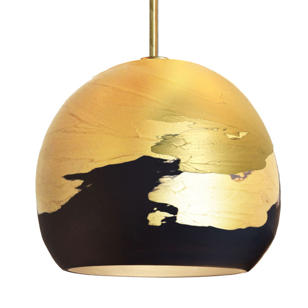 "12"" Matte Black & Brass Ombre Porcelain Downrod Pendant Light- Made in USA"