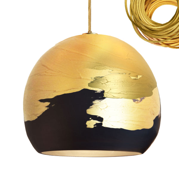 "12"" Matte Black & Brass Ombre Porcelain Pendant Light - Made in USA"