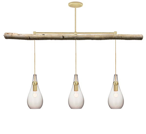 Mini Clear Blown Glass Teardrop & Brass Birch Chandelier