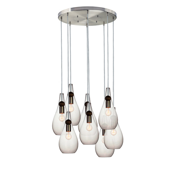 Mini Clear Hand Blown Glass Teardrop & Wood Stagger Chandelier- Brushed Nickel- Made in USA