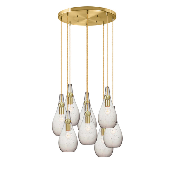 Seeded Hand Blown Glass Teardrop & Wood Stagger Multiple Pendant Light Chandelier - MADE IN USA