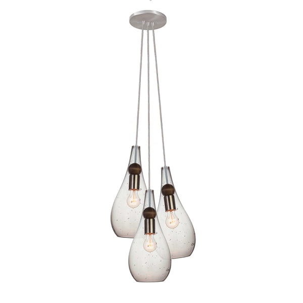 Mini Seeded Blown Glass Teardrop & Wood Cascade Chandelier- Brushed Nickel- Made in USA
