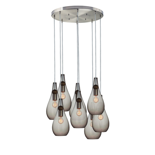 Smoke Hand Blown Glass Teardrop & Wood Stagger Multiple Pendant Light Chandelier - MADE IN USA