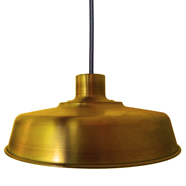 "Barn 17"" Metal Shade Pendant Light- Brass - Hammers and Heels  - 1"
