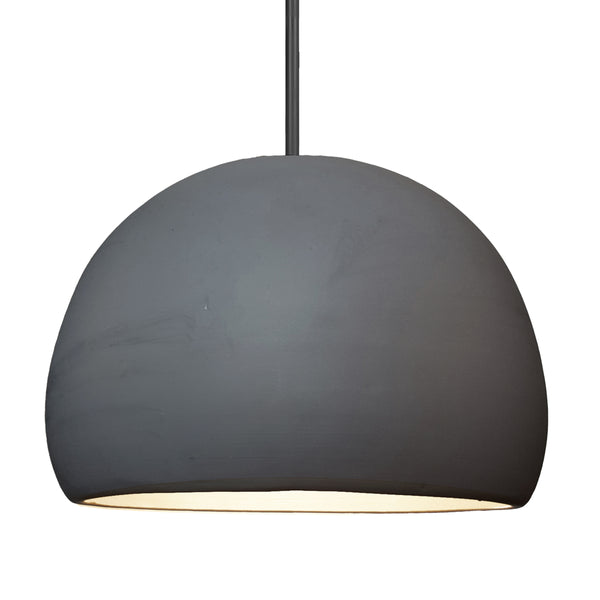 "16"" Matte Black Porcelain Globe Pendant Light - Black Downrod - Made in USA"