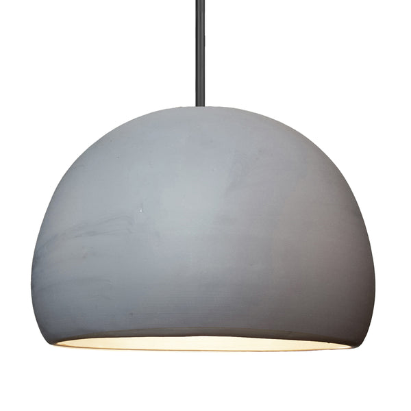 "16"" Matte Grey Porcelain Globe Pendant Light - Black Downrod - Made in USA"