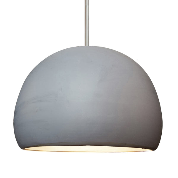 "16"" Matte Grey Porcelain Globe Pendant Light - Nickel Downrod - Made in USA"