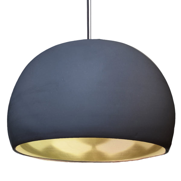"XL 16"" Matte Indigo & Brass Leaf Clay Pendant Light - USA Made"