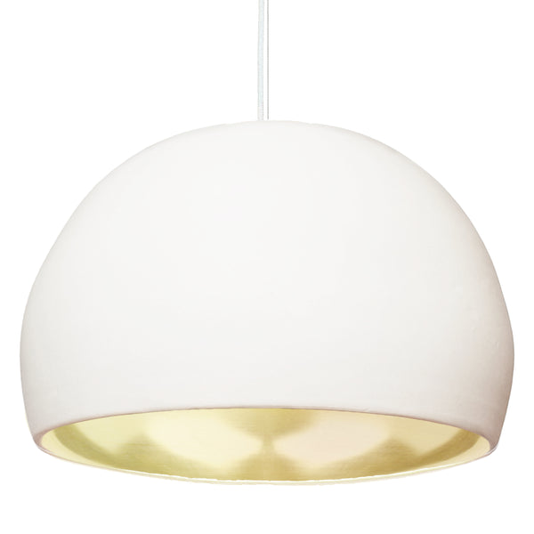 "XL 16"" Matte White & Brass Leaf Clay Porcelain Pendant Light - USA Made"