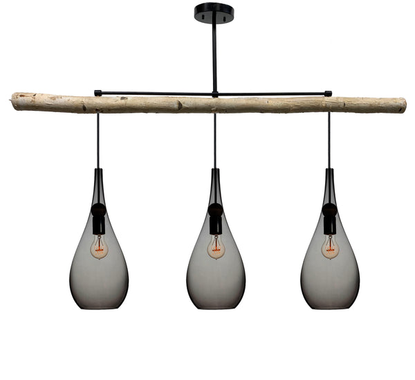 Smoke Blown Glass Teardrop Birch Chandelier- Matte Black