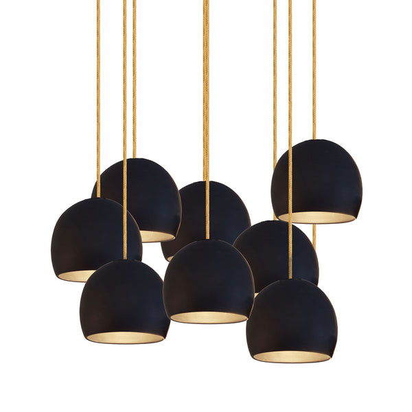 "5"" Matte Black Porcelain Staggered Chandelier- Brass Cord- MADE IN USA"
