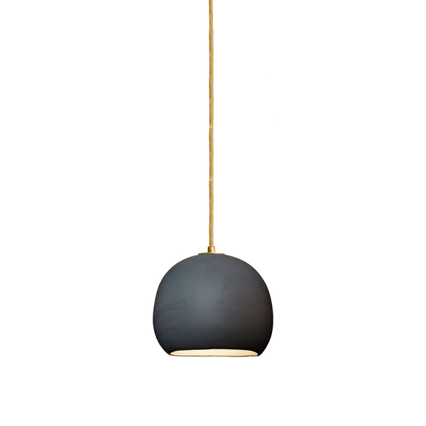 Mini Matte Black Porcelain Round Globe Clay Pendant Light- Brass- Made in USA. Custom. Exclusive. Quality- Hammers and Heels