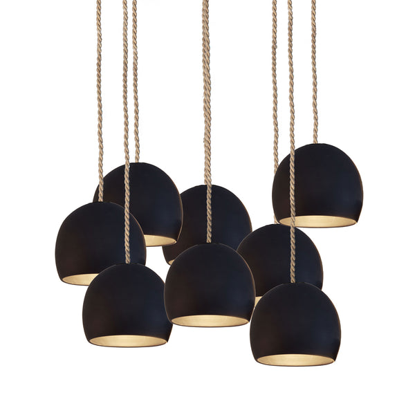"5"" Matte Black Porcelain Staggered Chandelier- Ship Rope Cord- MADE IN USA"