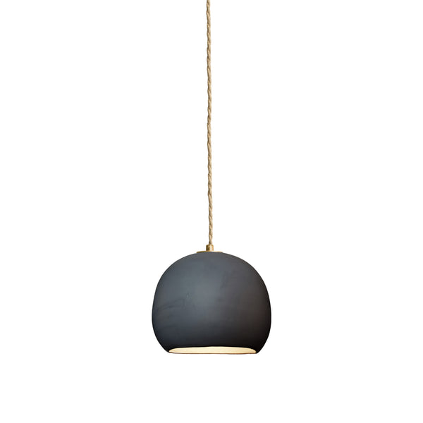 Mini Black Porcelain Round Globe Clay Pendant Light- Made in USA. Custom. Exclusive. Quality- Hammers and Heels