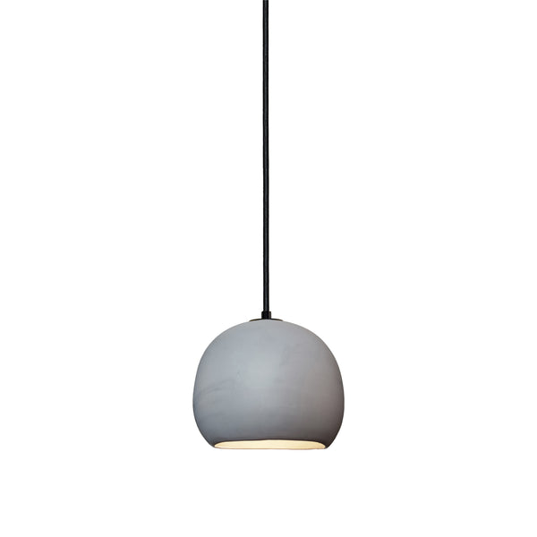 Mini Grey Porcelain Round Globe Clay Pendant Light- Made in USA. Custom. Exclusive. Quality- Hammers and Heels