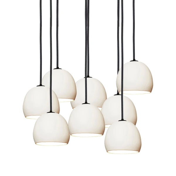 "5"" Matte White Porcelain Staggered Chandelier- Black Cord- MADE IN USA"