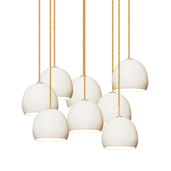 "5"" Matte White Porcelain Staggered Chandelier- Brass Cord- MADE IN USA"