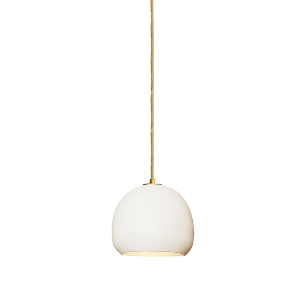 Mini White Porcelain Round Globe Clay Pendant Light- Brass- Made in USA. Custom. Exclusive. Quality- Hammers and Heels