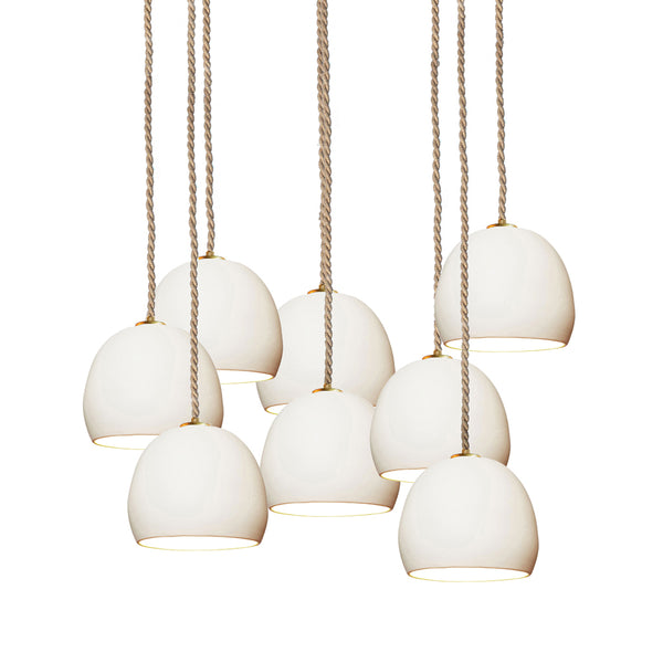 "5"" Matte White Porcelain Staggered Chandelier- Ship Rope Cord- MADE IN USA"