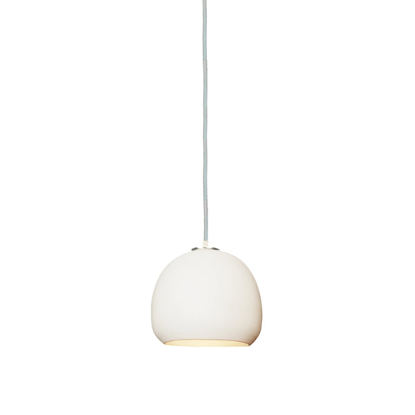 "5"" Matte White Porcelain Globe Pendant Light - White Cord- Made in USA"