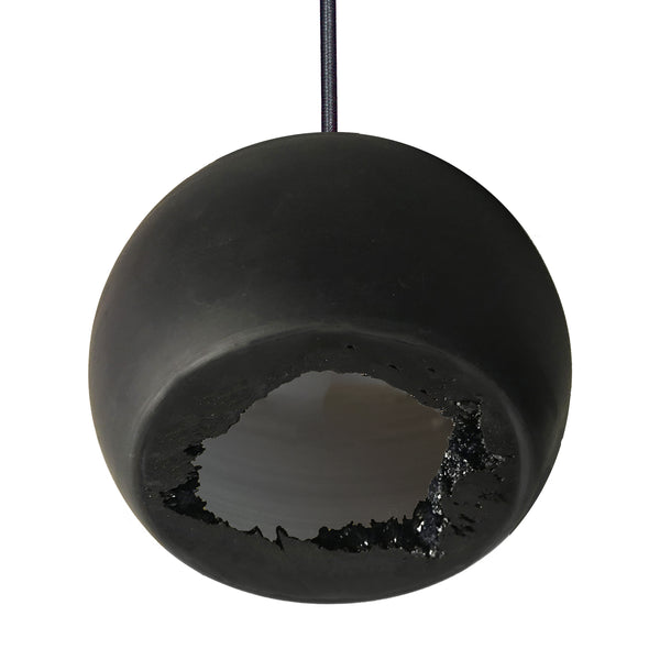 "Mini 5"" Matte Black Geode Quartz Crystal Pendant Light - Made in USA"