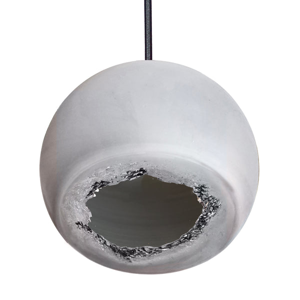 "Mini 5"" Matte Grey Geode Quartz Crystal Pendant Light - USA Made"