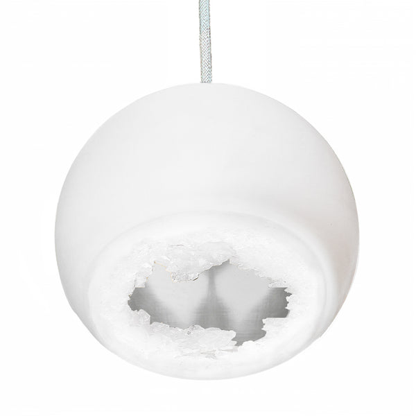 "5"" Matte White & Silver Geode Crystal Pendant Light- White Cord"