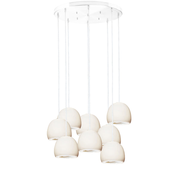 "5"" Matte White Geode Crystal Stagger Chandelier- White Cord"