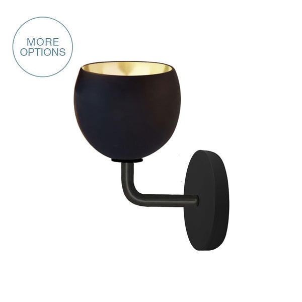"Mini 5"" Matte Black & Brass Leaf Clay Sconce - USA Made"