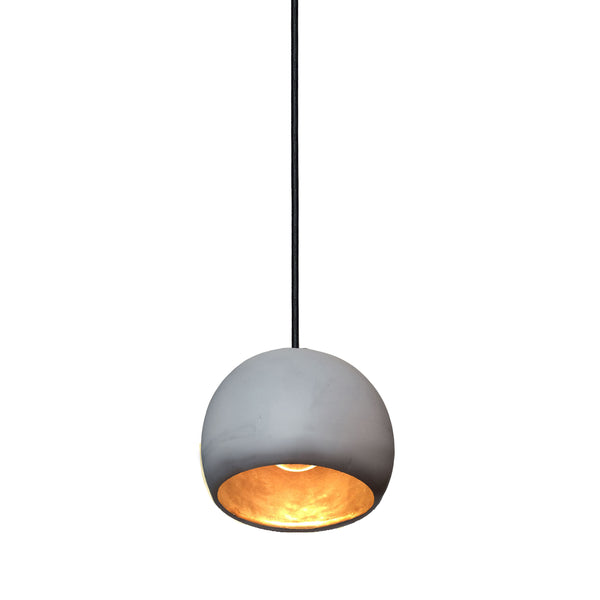 "Mini 5"" Matte Grey & Brass Leaf Clay Globe Porcelain Pendant Light - USA Made"