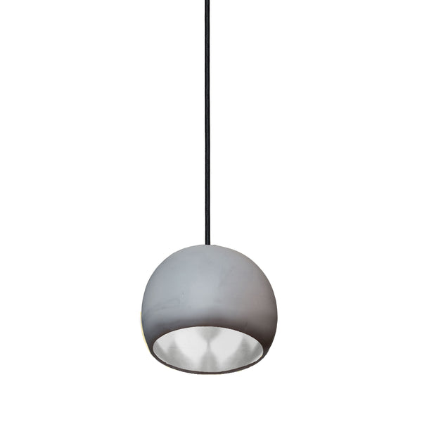 "Mini 5"" Matte Grey & Silver Leaf Clay Globe Porcelain Pendant Light - USA Made"