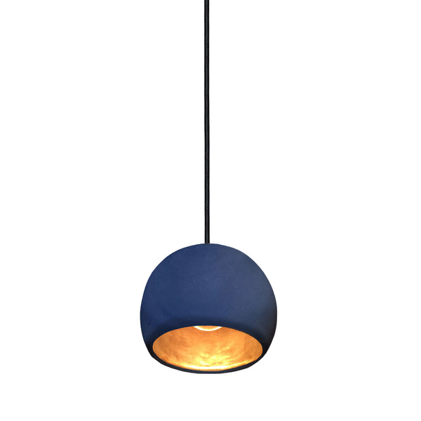 "Mini 5"" Matte Indigo & Brass Leaf Clay Globe Porcelain Pendant Light - USA Made"
