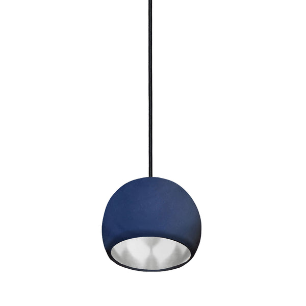 "Mini 5"" Matte Indigo & Silver Leaf Clay Globe Porcelain Pendant Light - USA Made"