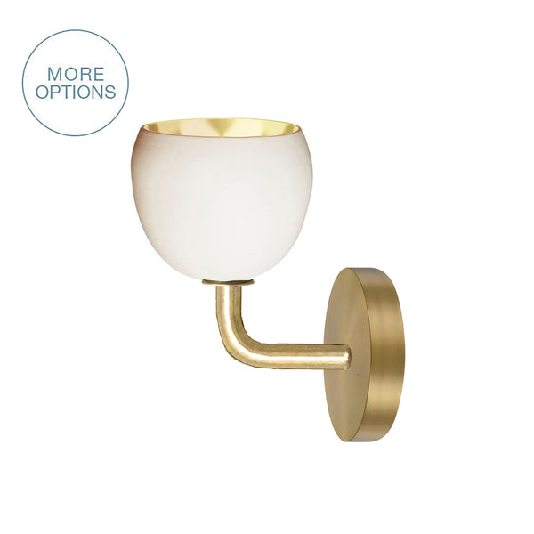 "Mini 5"" Matte White & Brass Leaf Clay Sconce - USA Made"