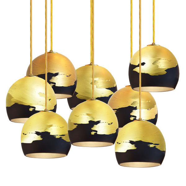 "Mini 5"" Matte Black & Brass Ombre Porcelain Multiple Stagger Pendant Chandelier - Made in USA"