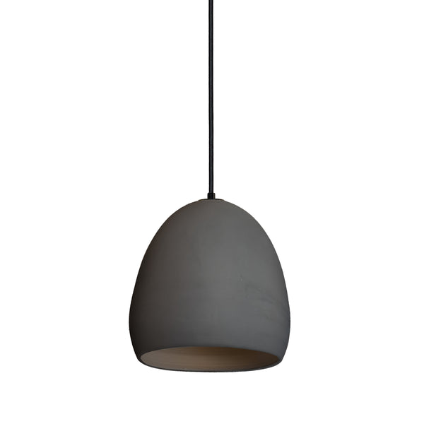 Matte Black Porcelain Round Globe Clay Pendant Light- Black Fabric Cord- Made in USA- Hammers and Heels