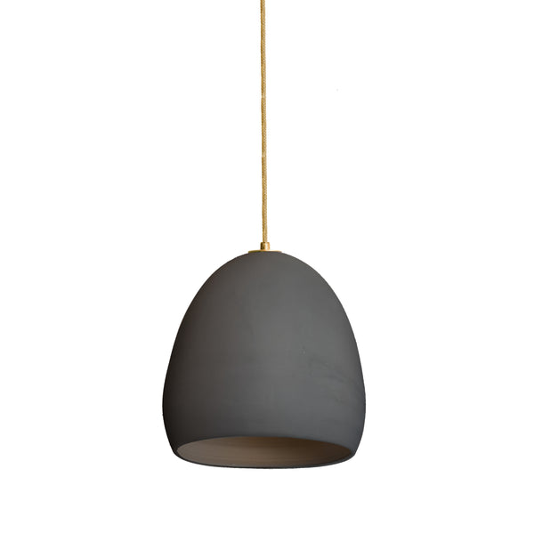 Matte Black Porcelain Round Globe Clay Pendant Light- Made in USA- Hammers and Heels