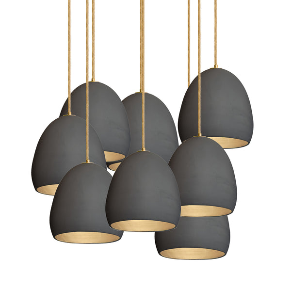 Matte Black Porcelain Round Globe Clay Multiple Staggered Pendant Light Chandelier- USA Made- Hammers and Heels- Custom. Exclusive. Quality