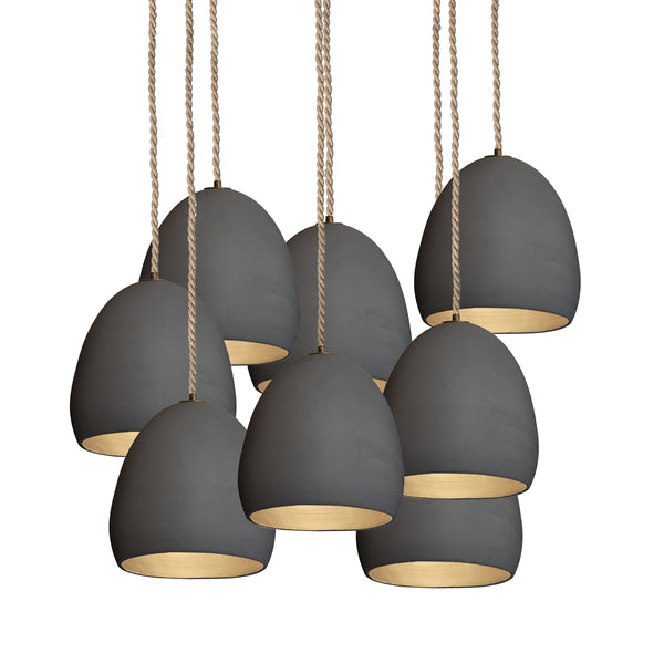"7"" Matte Black Porcelain Staggered Chandelier- Ship Rope Cord - Made in USA"