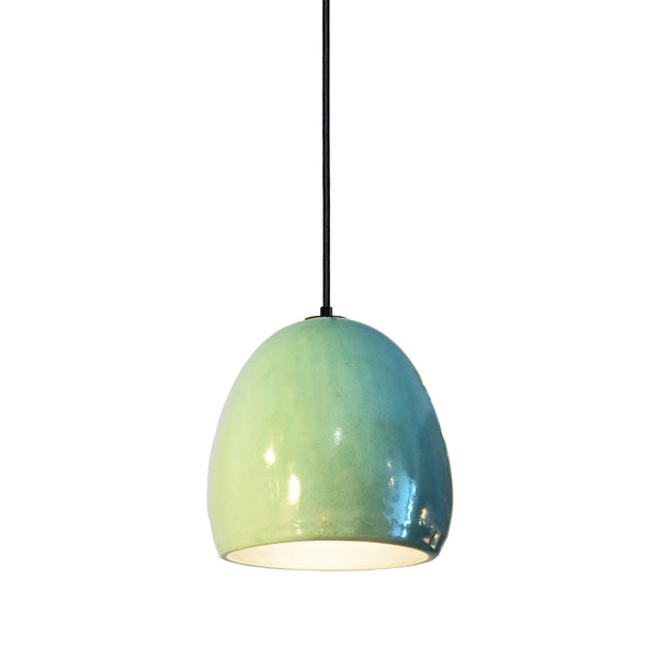 "7"" Celadon Porcelain Globe Pendant Light - Black Cord - Made in USA"